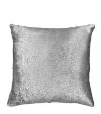 metallisch reflektierende Kissenhülle aus weichem Samt, silber