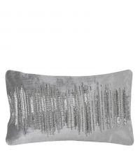 längliche Kissenhülle aus Samt mit Perlenverzierung in Silber & Grau