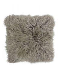 kuschelig weiche Kissenhülle aus mongolischem Schaffell, grau