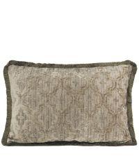 längliche Kissenhülle aus Chenille mit Trellis-Muster & Fransenrand, taupe