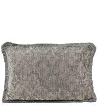 längliche Kissenhülle aus Chenille mit Trellis-Muster & Fransenrand, silber
