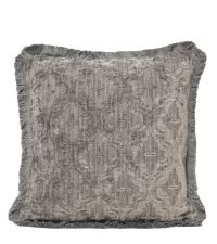 große Kissenhülle aus Chenille mit Trellis-Muster & Fransenrand, silber