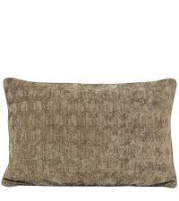 längliche Kissenhülle aus Chenille mit geometrischem Muster, taupe