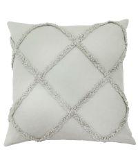 hellgraue Kissenhülle mit erhabenem Muster aus Fransen