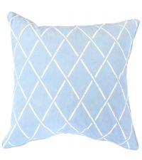 Kissenhülle aus Baumwolle mit geometrischem Rauten-Muster, blau