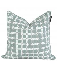 Kissenhülle aus Baumwolle mit geometrischem Muster, mint & weiß