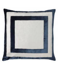 handgefertigter Kissenbezug aus Samt, dunkelblau und weiß