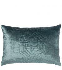 schimmernde, längliche Kissenhülle aus Samt mit feinem Hexagon-Muster, türkis blau