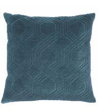 Dekokissen mit Samtbezug und geometrischem Muster, Samtkissen türkis blau