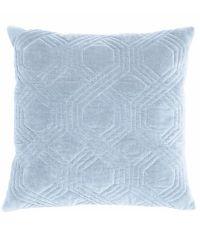 Dekokissen mit Samtbezug und geometrischem Muster, Samtkissen hellblau