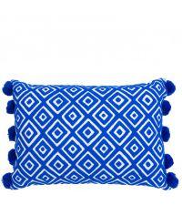rechteckiges Kissen mit quadratischem Muster und Bommeln, blau