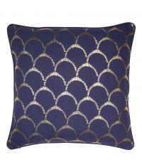 Kissenhülle aus Baumwolle mit gold-glänzendem Muschel-Muster, marineblau