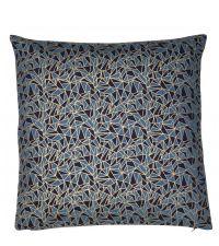 blaue Kissenhülle mit goldenem, geometrischem Mini-Muster und dunkelblauen Akzenten