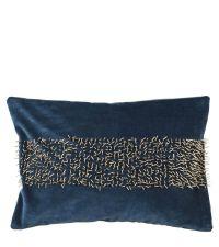 längliche Samt-Kissenhülle mit Perlenverzierung, dunkelblau