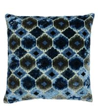 große Kissenhülle aus Samt in Blau- und Türkistönen mit Wabenmuster