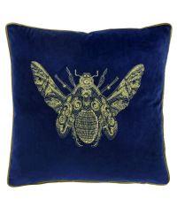 Samt-Kissenhülle in dunkelblau mit aufgesticktem Bienen-Motiv in gold