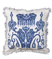 traumhaftes blaues Dekokissen mit Muster und Fransen