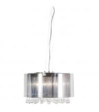 moderne Deckenleuchte mit silberfarbenem Lampenschirm und Glaszapfen