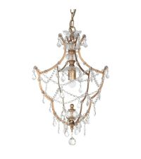 zarter Kronleuchter aus goldenem Metall, Ketten & Behang aus Kristallglas