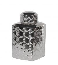große silberfarbene Dose, Urne aus Keramik mit eingeprägtem geometrischen Muster