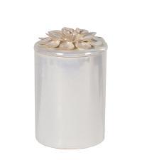 edle Keramikdose in schimmerndem Perlmutt mit Blumenverzierung am Deckel, hoch