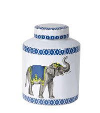 Dose aus Keramik mit Ethno-Elefant-Print, blau & weiß