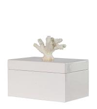 edle Keramikbox glänzend weiß mit weißem Korallengriff