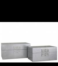 2er-Set Aufbewahrungsbox mit geometrischem Griff, silber