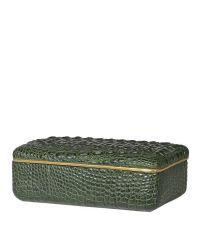 trendige Schmuckdose, Aufbewahrungsbox in Kroko-Optik mit goldener Umrandung, dunkelgrün