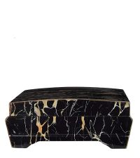 Schmuckbox in schwarzer Marmor-Optik mit roter Samtauskleidung