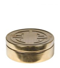 runde, flache Dose aus Keramik in matt gold mit geometrischer Verzierung