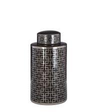 schmale Urne im Art-Decó Stil, Keramikdose in glänzendem Schwarz mit goldenem geometrischen Muster