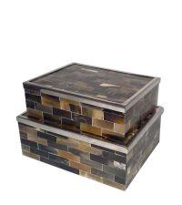 edles Boxen-Set mit Büffelhorn-Elementen & Chromeinfassung
