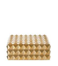 große edle Schmuckdose mit schwarzem Samtbezug und geometrischen Erhebungen, gold