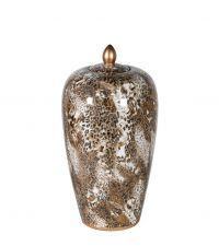 große, hohe Keramikdose mit Leo-Print, braun & gold