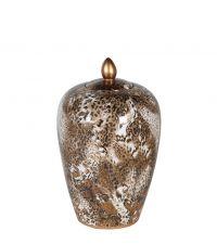 bauchige Keramikdose mit Leo-Print, braun & gold