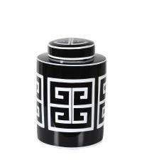schwarze Keramikdose mit weißem geometrischen Muster
