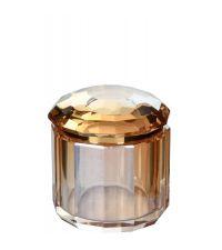 große Aufbewahrungsdose aus getöntem Kristallglas, cognacfarben