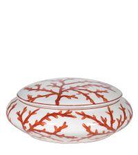 flache, weiße Dose aus Porzellan bemalt mit Korallen
