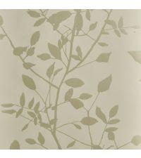 schimmernde Tapete mit Blättermuster, Hintergrund matt creme mit metallischen Blättern silber