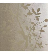 schimmernde Tapete mit Blättermuster, Hintergrund champagner mit matten Blättern gold/taupe