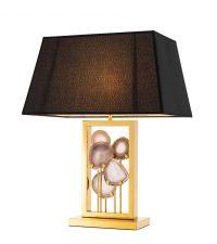 Tischlampe mit Chromrahmen und eingefassten Achtsteinen Eichholtz