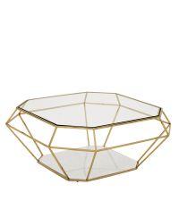 Durchsichtiger Tisch mit goldenen Füßen und weißer Marmorplatte von Eichholtz