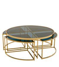 Verglaster Tisch mit goldenem Rahmen und vier zusätzlichen Tischen von Eichholtz