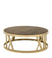 Runder Tisch aus braunem Marmor und goldenem Rahmen von Eichholtz