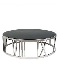 Runder Tisch aus schwarzem Marmor mit stählernem Rahmen von Eichholtz