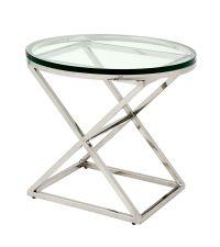 eleganter Beistelltisch mit runder Glasplatte und verchromten überkreuzten Füßen von Eichholtz