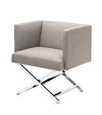 sandfarbener Sessel mit überkreuzten Chromfüßen Eichholtz
