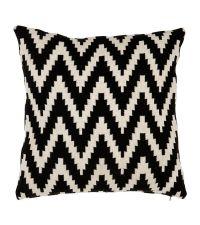 Kissenhülle aus Baumwolle mit Ethno-Zickzack-Muster Eichholtz, schwarz beige