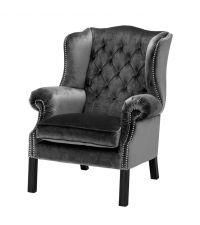 grauer Sessel mit tiefer Knopfheftung und Nieten von Eichholtz